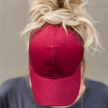 Messy Bun Baseball Hats - Burgundy