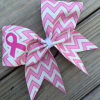 Pink chevron glitter bow with breast cancer awareness symbol