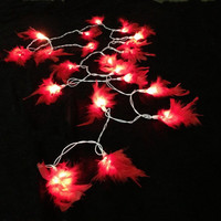 20 Bulbs Red fluffy feather string lights for Patio,Wedding,Party and Decoration
