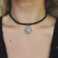 Matte Black Glass Beaded Sun Choker Necklace