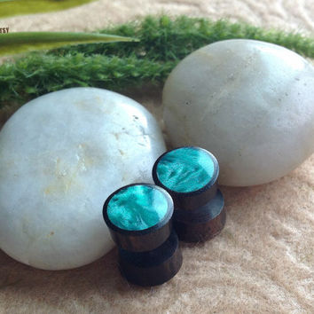 "Fake Gauge Earrings, Faux Plugs, ""Emerald Velvet"" Sono Wood with Resin Inlay, Natural, Handcrafted, Tribal"