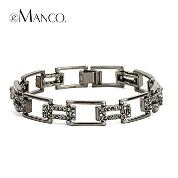 emanco Jewelry Fashion crystal Gold Plated Alloy Chain Chunky Bracelets Bangles Women Bracelet Free shipping