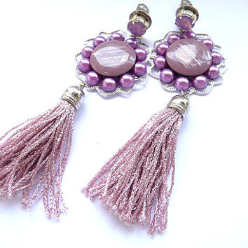 Tassel earrings, Fringe Earrings, Pink tassel earrings, Dusty Pink Earrings, Pink earrings, Pink Purple earrings, Multicolor earrings, Big
