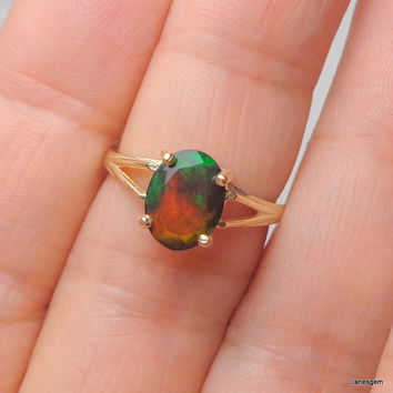 Solid 10k Yellow Gold Ring, Black Welo Opal Ring, Color Play Blue, Green, Orange, Yellow Fire, Promise Ring, Engagement Ring, Ethiopian Opal
