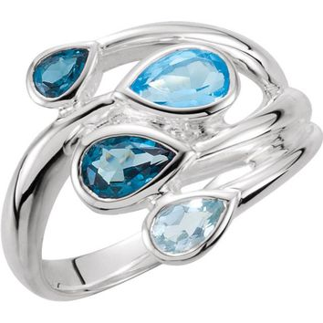 Sterling Silver Sky Blue , London Blue & Swiss Blue Topaz Bypass Ring