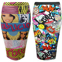 LADIES COMIC BARBIE DOLL PRINT STRETCH BODYCON PENCIL WOMENS SKIRT 8/14