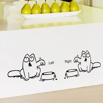 % Left Right newest DIY FUNNY cat need food home decor wall sticker lovely kitchen pet store car decals for kids room Art poster