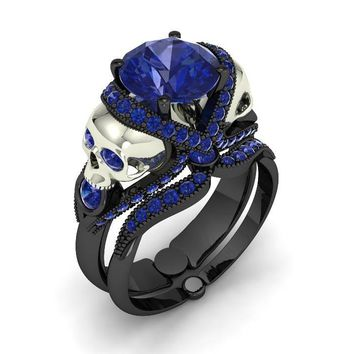 Our Best Selling Skull Engagement Set Silver Unique Eye Appeal