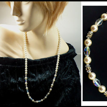 30 Inch Long Rhinestone, AB Crystal & Pearl Necklace, Laguna New Old Stock, White Pearls, Bridesmaid Pageant Maid of Honor Prom Gift For Her