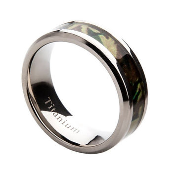 Mens Titanium Wedding Band with Camo Inlay, 8mm