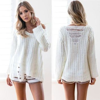LMFCE6 Pullover Elastic Long Sleeve Ripped Holes Sweater [11813548943]