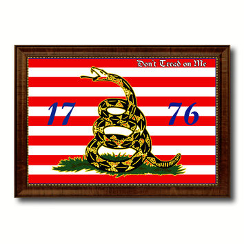 First Navy Jack Don't Tread On Me 1776 Tea Party Military Flag Canvas Print with Brown Picture Frame Home Decor Wall Art Gift Ideas