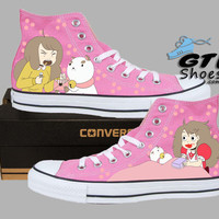 Hand Painted Converse Hi. Bee and Puppycat. Cartoon. Pink.Handpainted shoes.