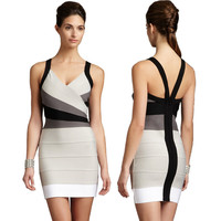 Women's Fashion Sexy Backless Spaghetti Strap V-neck Slim Gradient Bandages Dress One Piece [4919883012]