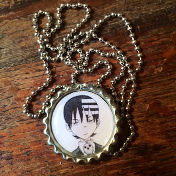 Soul Eater Death the Kid anime face bottle cap necklace