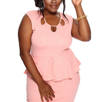 Peach Floral Embossed Peplum Plus Size Party Dress