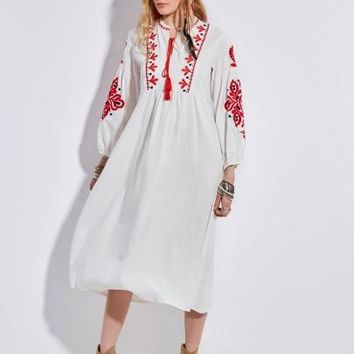 Womens Round Neck Embroidery Lantern Sleeve Maxi Dress (d)