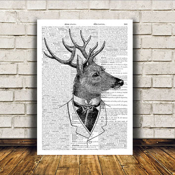 Deer poster Wall decor Animal art Dictionary print RTA380