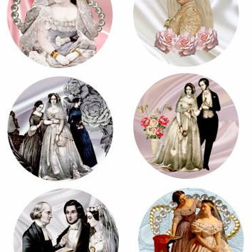 "Victorian brides clip art collage sheet 3.5"" x 3.5"" circles digital download graphics images crafts scrapbooking Coasters cards Gift tags"