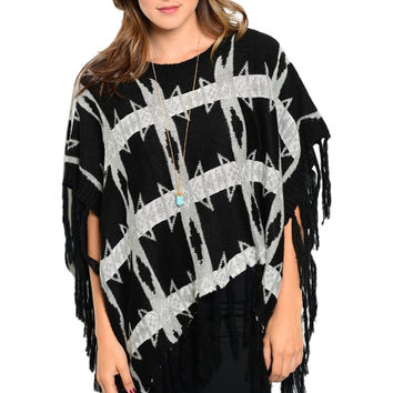 Multicolored Pull Over Knit Poncho W/ Fringe Trim