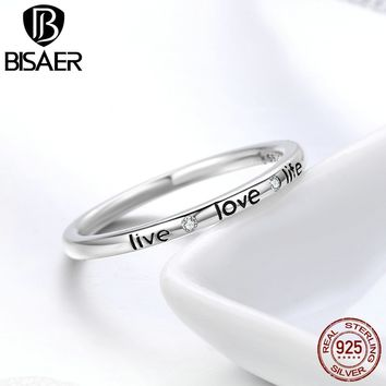 2018 New Arrival 925 Sterling Silver Love My Life Rings Simple Round Engrave Letter Finger Ring for Women Girl Fashion Jewelry