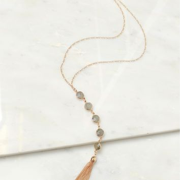 Gemstone Drop Necklace Speckled Quartz