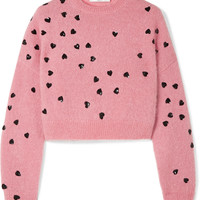 Valentino - Cropped sequin-embellished mohair-blend sweater
