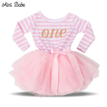 Retail Hot Girls Dresses Kids Princess Costume For Infant First Birthday Party Wear Tutu Dress Girls Clothes For Newborn 0-2Yrs