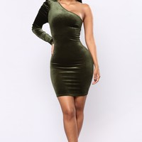 Feel It Coming Dress - Olive