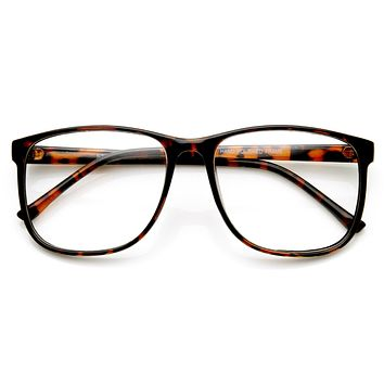 Large Retro Nerd Hipster Fashion Clear Lens Glasses 9339