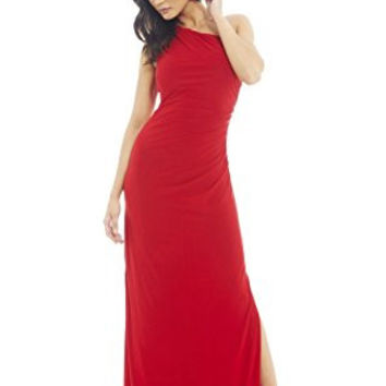 Red One Shoulder Leg Split Maxi Dress