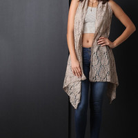 Crochet Lace Open Front Sleeveless Long Cardigan