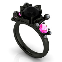 Gothic Engagement Ring with Black Diamond and Pink Sapphire