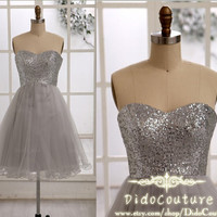 Custom Made Sequin Bodice Homecoming Dress,Gray Sweetheart Bridesmaid Dress,Short Prom Dress