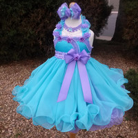 Made to Order Natural Pageant Babydoll Dress Seafoam Lilac Bows Satin