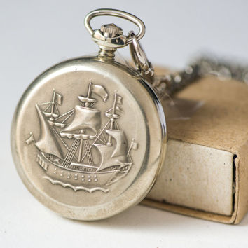Sailer pattern men pocket watch, unused pocket watch Molnija Lightning, silver shade pocket watch and chain, sailing ship pocket watch gift