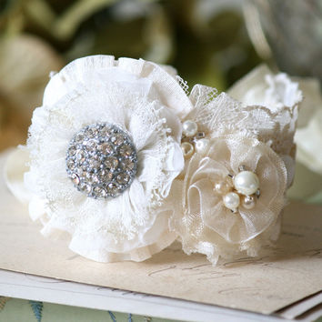 Unique Bridal Jewelry - Vintage Rhinestone and Pearl Bracelet In Natural White Textiles
