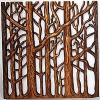 Carved Wall Panels Trio of Trees | EcoGiftsAndDecor.Com