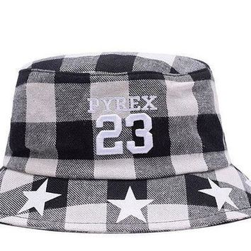 Full Leather Bucket Hats Pyrex 23 White