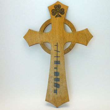"Ogham Celtic Cross for ""Faith"" with Shamrock - Wood Celtic Cross - Trinity Crossing"