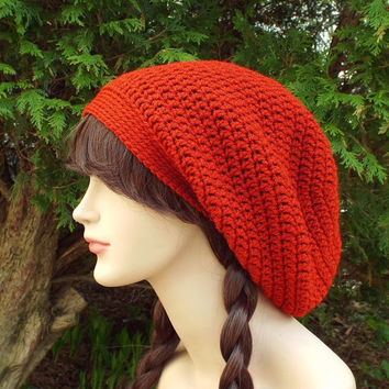 Red Orange Slouch Beanie - Womens Slouchy Crochet Hat - Ladies Oversized Cap - Hipster Hat - Baggy Beanie