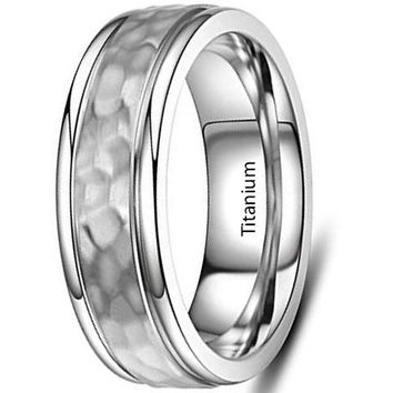 CERTIFIED 7mm Titanium Rings for Mens Wedding Band Hammered Comfort fit