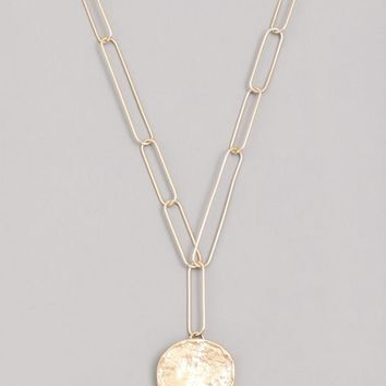 Chain Hammered Disc Pendant Necklace