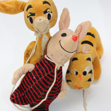 Vintage Winnie The Pooh Miniature Plush Toy Doll Collection, Rabbit Piglet & Tigger, Walt Disney Collectibles, Classic Winnie The Pooh, Baby