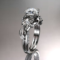 Unique platinum diamond leaf and vine wedding ring,engagement ring ADLR224