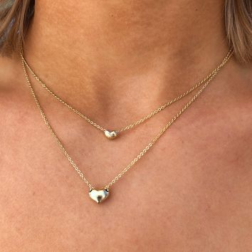 Heart To Heart Necklace: Gold