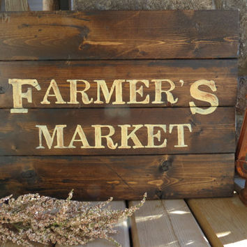 Farmers Market Handpainted Wooden Made To Order Sign - Rustic, Distressed, Country, Farmhouse, Shabby, Wood Plank, Kitchen Decor