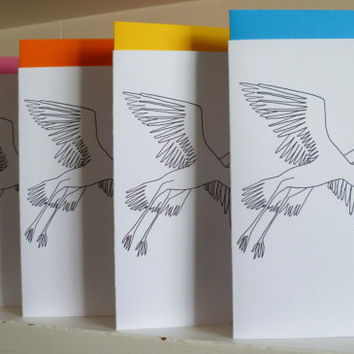 Baby / New Arrival Colouring in Card Unisex Stork Design A6 with printed coloured Envelope