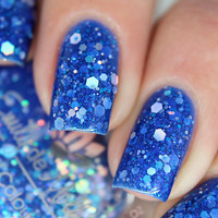 "Nail polish - ""Blue Prediction, silver holo glitter in a neon blue base"