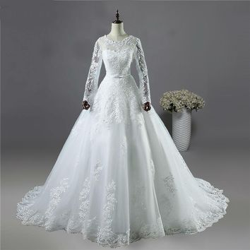 White Ivory Lace Bride Wedding Dresses with long sleeve Bridal Gown with Big Train